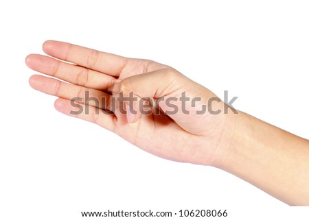 Woman Hand pointing, touching or pressing isolated on white. Caucasian female. - stock photo