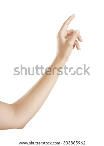 woman hand pointing with his index finger upwards, isolated white background