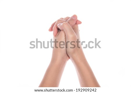 woman hand praying on white background - stock photo