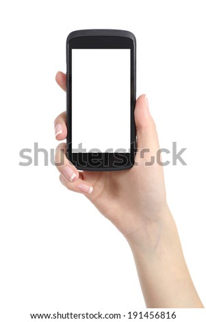 Woman hand presenting a smart phone screen application isolated on a white background - stock photo