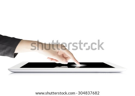 Woman Hand Pressing On Tablet Computer - stock photo