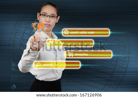 woman hand push on technology virtual touch screen interface. - stock photo