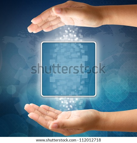 Woman hand pushing blank icon on touch screen interface