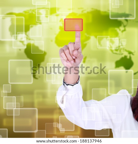 woman hand pushing button on a touch screen interface - stock photo