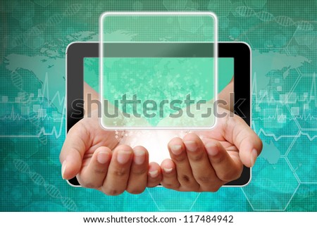Woman hand pushing on touch screen interface ,background medical - stock photo
