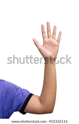 woman hand raised up lifted up in the air on white background. Concept Business / Question / Ask. - stock photo