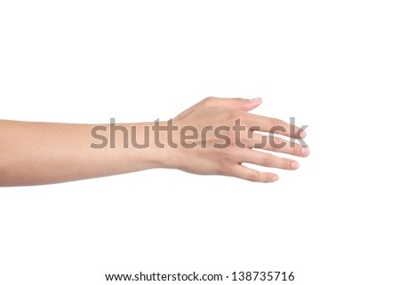 Woman hand ready for handshaking on a white isolated background - stock photo