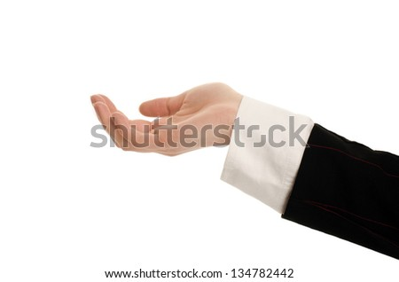 Woman hand receiving, begging, presenting. Business woman hand isolated on white. - stock photo