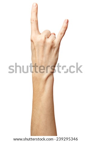 Woman hand rocker on Isolated white background. Hand giving the devil horns gesture.  Alpha.Two fingers up. 2