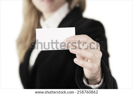 woman hand's showing business card  - stock photo
