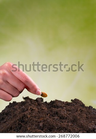 Woman hand seeding seed into pile of soil - stock photo