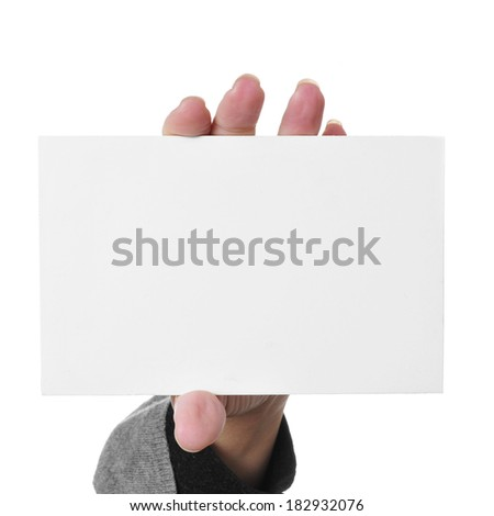 woman hand showing a blank signboard with a copy-space - stock photo