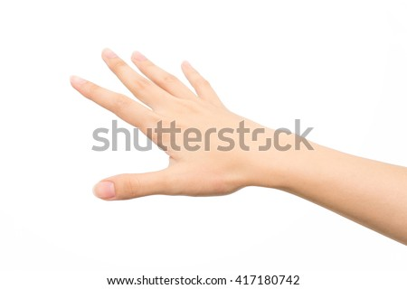 Woman hand showing five count - stock photo
