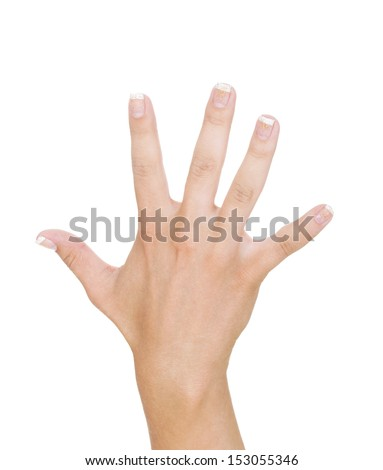 Woman hand showing  five fingers - stock photo