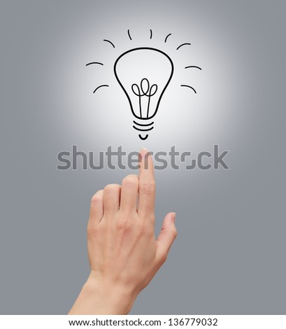 Woman hand showing on idea bulb isolated on grey background