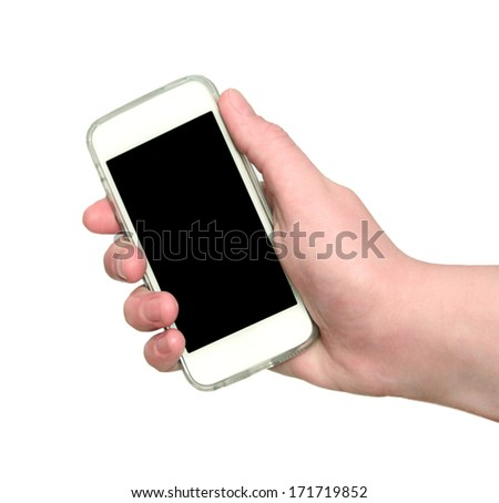 Woman hand showing smart phone with isolated screen in hand - stock photo