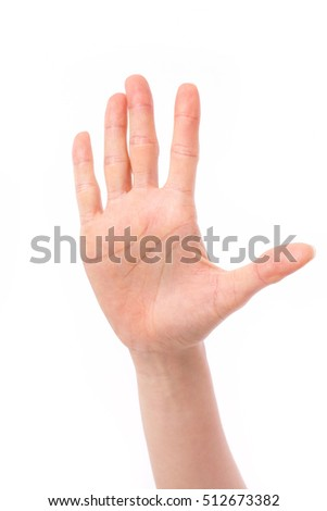 woman hand showing stop or halt gesture hand sign, studio isolated