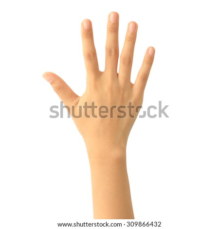 Woman hand showing the five fingers. counting hand sign isolated on white background.