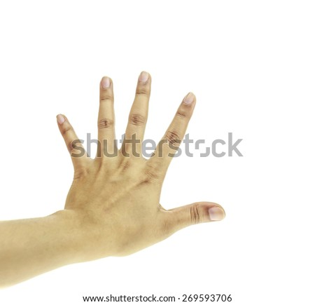 Woman hand shown to ban or stop isolated on white background - stock photo