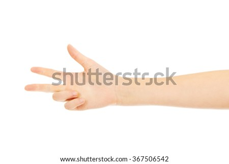 Woman hand shows thee fingers