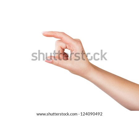 Woman hand to hold virtual business card, credit card,blank paper or other isolated on white background - stock photo