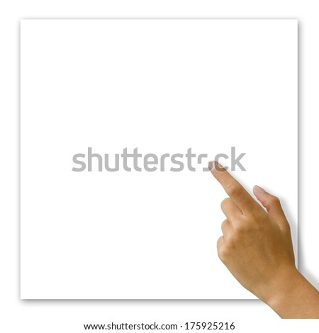Woman hand touching white blank card
