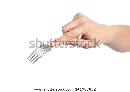 Woman hand using a fork isolated on a white background