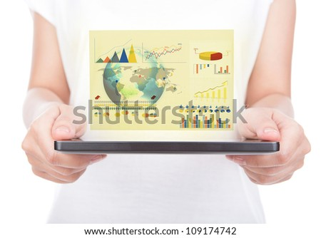 Woman hand using a touch screen device against white background (Elements of this image furnished by NASA) - stock photo