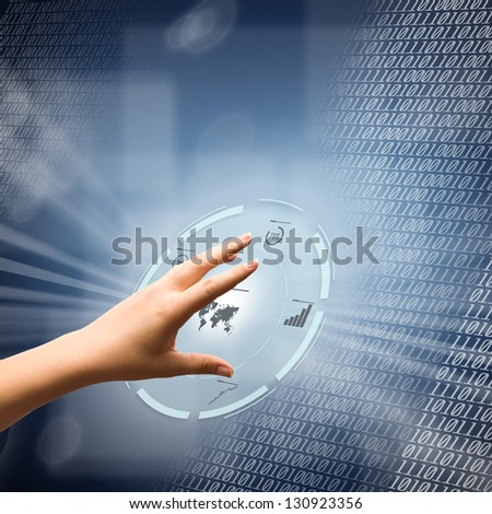 Woman hand using futuristic digital interface - stock photo