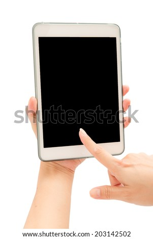 Woman hand using tablet PC on white background. - stock photo