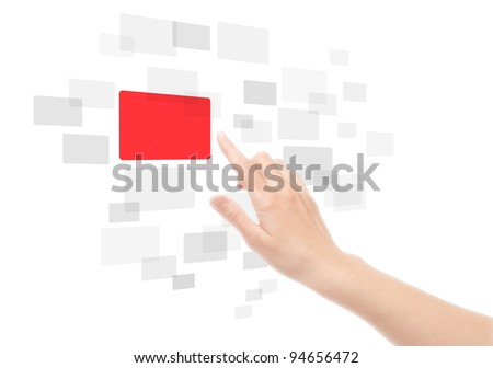 Woman hand using touch screen interface. Isolated on white. - stock photo