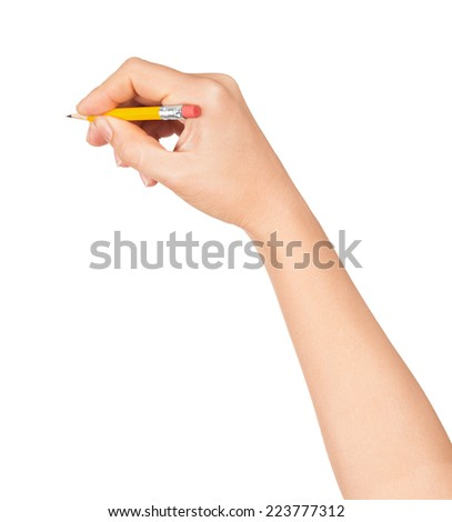 Woman hand with a short pencil on a white background