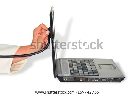woman hand with a stethoscope and a laptop