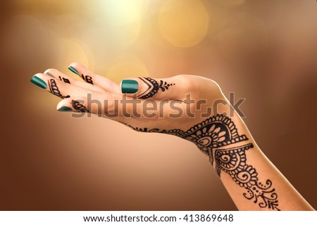 Mehndi For Tattoo : Woman hand black mehndi tattoo stock photo royalty free