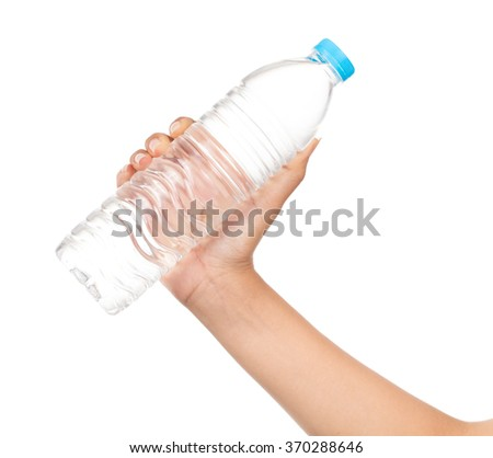 woman hand with bottle of water isolated on white background - stock photo