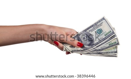 Woman hand with dollars