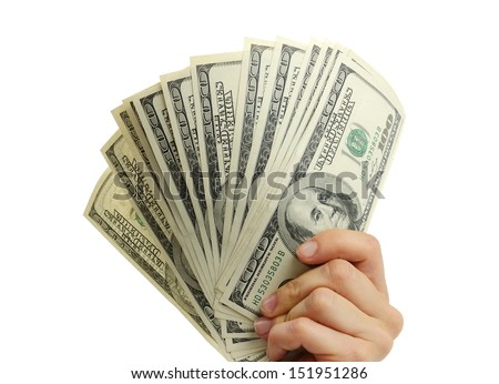 woman hand with dollars isolated on a white background - stock photo