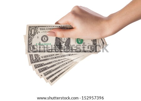 Woman hand with dollars isolated on white background