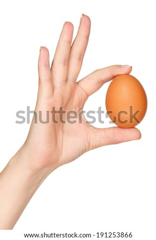 Woman hand with egg isolated on white background - stock photo