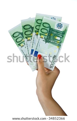 woman hand with euro hundred bills - stock photo
