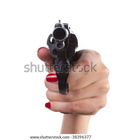 Woman hand with handgun - stock photo