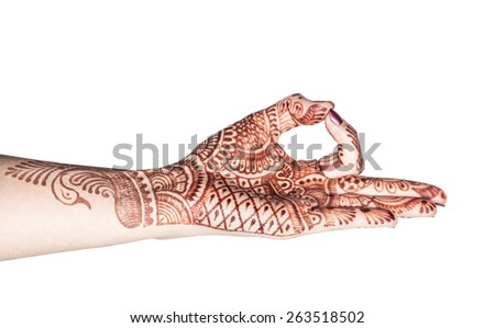 Woman hand with henna doing Dhyana mudra isolated on white background with clipping path  - stock photo