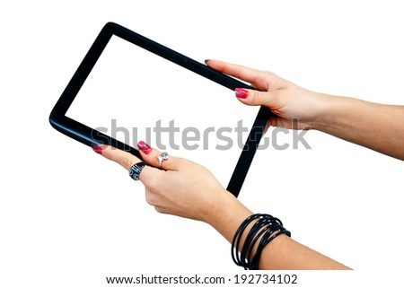 woman hand with jewelry holding tablet with blank screen