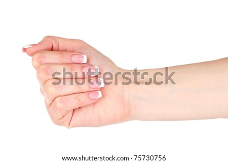 Woman  hand with  manicure isolated on white background