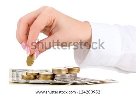 Woman hand with money, isolated on white