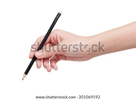 Woman hand with pencil isolated on white background - stock photo