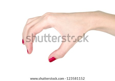 Woman hand with red nail-polish holding invisible thing isolated
