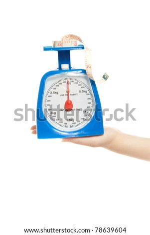 Woman hand with scale measure tape isolated on white