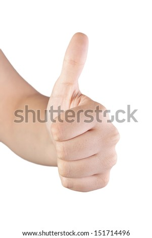 Woman hand with thumb up in a white isolated background