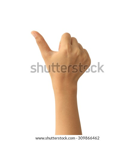 Woman hand with thumb up isolated on white background - stock photo